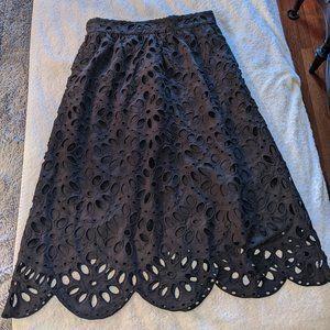 Ann Taylor Midi Eyelet Skirt